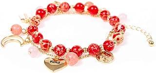 21AE اليد محبوك حجر الطبيعة الإسورة 7 شاكرا سوار مع تصاميم الأزهار زر قابل للتعديل أساور يدوية للنساء الفتيات مجوهرات