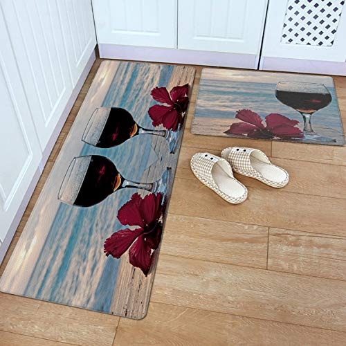 Fantasy Star 2 Piece Leather Kitchen Rug- Wine Flowers Sea and Sunset Durable Area Rugs Cushioned Anti Fatigue Floor Mat Soft Waterproof Indoor Carpet, 18' x 30' + 18' x 48'