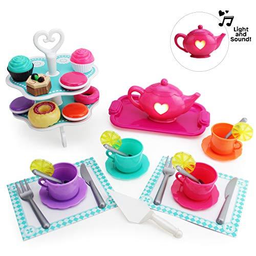Boley Tea Set - 40 Piece Children's Tea Party Set with Princess Pink
