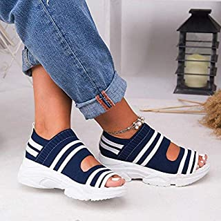 COCNI Fashion Flip Flop Women's Stretch Fabric Sandals Woman Shoes Slip On Hollow Out Peep Toe Thick Bottom Platform Casual Cover Heel Ladies Female 2020 New Fish Mouth Sandals Beach Shoes