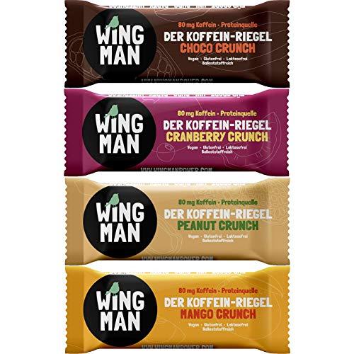 WINGMAN Koffein - Riegel (Probierpack (1 Riegel von allen 4 Sorten), 4 Riegel) | Vegan & Proteinquelle | Energieriegel mit Koffein