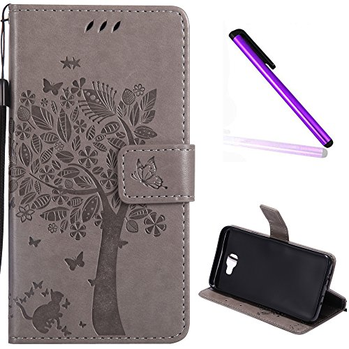 EMAXELER Samsung Galaxy J5 Prime Cover Case Stylish Diamond Embossed Kickstand Credit Cards Slot Cash Pockets PU Leather Flip Wallet Case for Samsung J5 Prime Wish Tree Gray