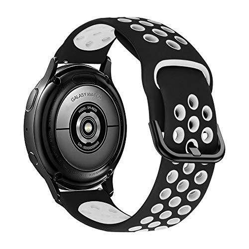 iBazal 20mm Galaxy Watch Active2 Armband 40mm 44mm Ersatz für Samsung Galaxy Watch 42mm,Active 40mm,Gear S2 Classic,Gear Sport Silikon Armband Uhrenarmband Ersatzband Sportband - Schwarz/Weiß
