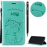 Galaxy A8 2018 Hülle,Galaxy A8 2018 Case Leder,WIWJ Prämie PU Klapphülle Leder Brieftasche[Impressum Cat Love Fish Handy Case]Schutzhülle für Samsung Galaxy A8 2018-Grün