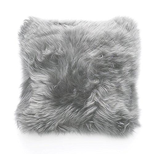 Natures Collection- Schaffell-Kissen Neuseeland Hellgrau - Cushion of Premium Quality Sheepskin - New Zealand - Hellgrau - 35x35cm - 100% Schaffell, Rückseite: 100% Polyester (Klein)