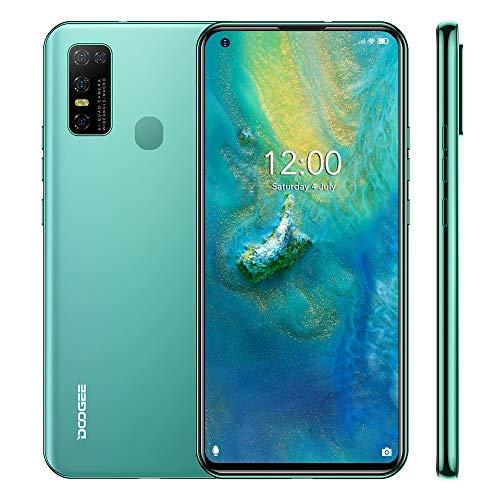 Smartphone Libre 4G, DOOGEE N30(2020) Android 10 Teléfono Móvil, 6.55 Pantalla Perforada, 4GB +128GB, Cámara AI 16MP, 8MP Frontal Cámara, 4500mAh Batería, Dual SIM, Verde