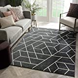 Well Woven Plaza Geometric Grey Modern Lines Angles Tiles Shapes Area Rug 5x7 (5'3' x 7'3') Carpet