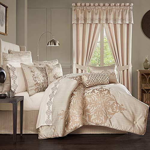 Five Queens Court Cresmont 4 Piece Luxury Medallion Comforter Set, Gold, Queen 92X96