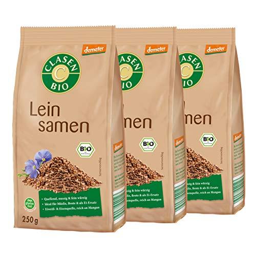 3x CLASEN BIO Demeter Leinsamen ganz, glutenfrei und naturbelassen - 250 g