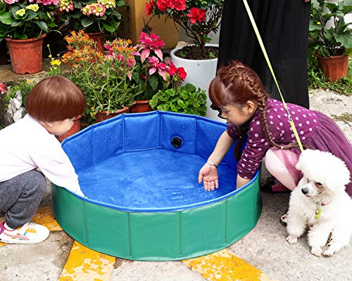 Yidarton Swimming Pool für Hunde Hundepool Doggy Pool Badewanne Pool Umweltfreundliches PVC Hundepool 160x30 cm Grün