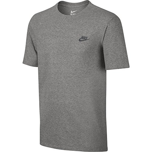 Nike Herren Club Embroidered Futura T-Shirt, Grau (Dk Grey Heather / Cool Grey), L