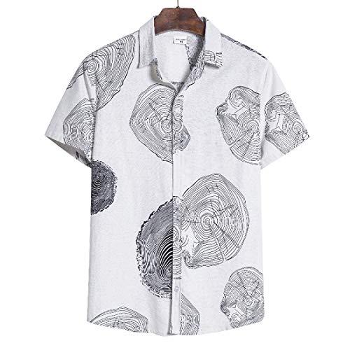 Camisa de Manga Corta Relajada con Solapa para Hombre Impresión de Tendencia Bloques de Color Moda Verano Cómodas Camisas básicas de Todo fósforo 3XL