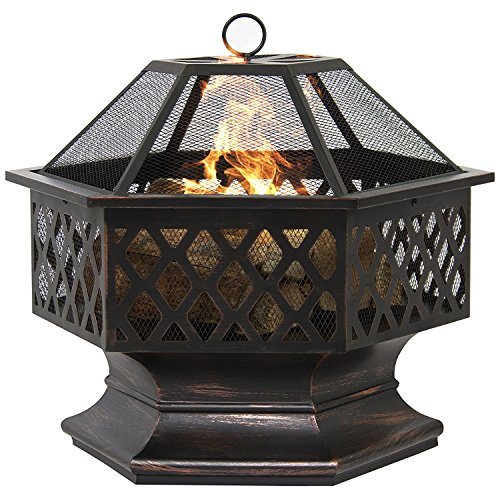 LIVIVO Hexagonal Fire Pit - Outdoor Oil Rubbed Bronze Fire Pit With BBQ Grill, Metal Poker Iron, Mesh Ember and Spark Guard Screen