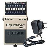 Boss GE-7 - Ecualizador gráfico para guitarra (incluye fuente de alimentación Keepdrum de 9 V)