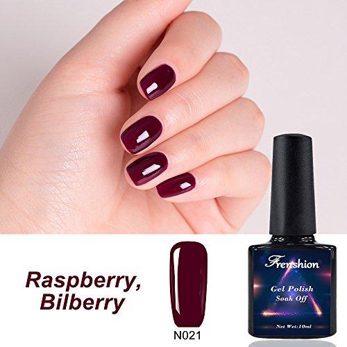 Frenshion 5 ml Gel Vernis À Ongles Soak off UV LED Vernis À Ongles Nail Art Framboise Myrtille N021