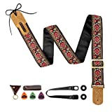 M33 Guitar Strap Vintage Woven Collection Strap Set For Acoustic, Bass and Electric Guitars. Awesome Christmas Gift for Men & Women Guitarists