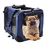 MIEMIE Soft Collapsible Dog Travel Crate Portable Dog Kennel with Straps and Mat, Pet Carrier - Great for Indoor and Outdoor Use (23' L x 17' W x 17' H, Navy)