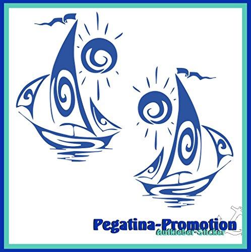 2x Comic Segelboot mit Sonne ca. 20x20 cm Aufkleber aus Hochleistungsfolie - viele Farben zur Auswahl - Angler Angelboot Sticker Boot Boote Beschriftung Bug Heck Fische Angeln Schlauchboot Nautic See Fischer Fischen