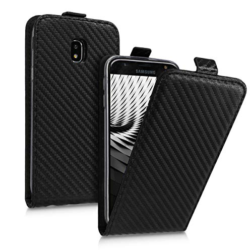 kwmobile Samsung Galaxy J3 (2017) DUOS Hülle - Handyhülle für Samsung Galaxy J3 (2017) DUOS - Handy Case Flip Schutzhülle - Carbon Design Schwarz