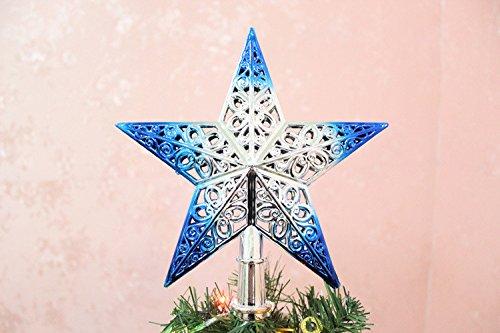Sommet de Sapin de Noel Étoile Noël Sapin Topper - 8 couleur disponible (Bleu)