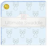SwaddleDesigns Large Receiving Blanket, Ultimate Swaddle for Baby Boys, Girls, Softest US Cotton Flannel, Best Shower Gift, MADE in USA, Gray Fox on Pastel Blue, Mom's Choice Winner