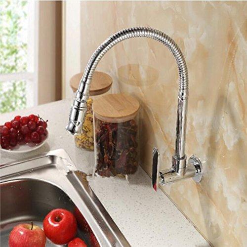 QYJ Universal Swivel Mop Pool Wasserhahn Verlängert Kupfer Einzigen Kalten In-Wand Küche Balkon Gemeinsamen Wasserhahn Einzigen Kalten In-Wand Typ Universal Rotation Messing Casting