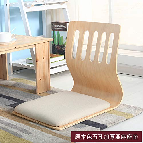 H&U Folding Floor Chair, Japanese Padded Legless Floor Chair with Back Support Reading Watching Video-Gaming Meditation Chair-Wood Color