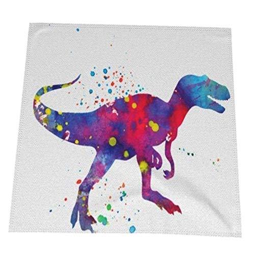 WANZHOU Lino de Tabla de la Tela de la servilleta del Bloque de la Mano del algodón del Dinosaurio de la Acuarela 20 x 20 Pulgadas