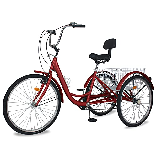"""Barbella Adult Tricycle, 24-Inch Single and 7 Speed Three-Wheeled Cruise Bike with Large Size Basket for Recreation, Shopping, Exercise Men's Women's Bike (Burgundy Red, 24"""" Wheels 7 Speed)"""