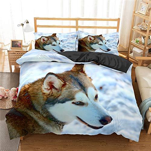 Ropa de cama impresa, juego de edredón doble, juego de cama para perros Husky 3D, funda nórdica de animales lindos, juego de ropa de cama para perros husky, textiles para el hogar, funda de edredón,