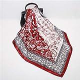 Bufanda de la manera pañuelos for las mujeres mantón de la impresión de la bufanda de seda satinada Hijab Mujer Bandana 90 * 90cm de la marca de lujo cuadrados Chales Bufandas for damas