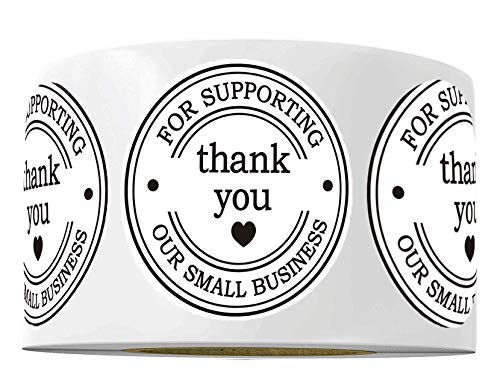 """2"""" Round Thank You Stickers - Printed Thank You for Supporting Our Small Business Stickers with Hearts - 500 Thank You Labels Per Roll (Pure White, 2 Inch)"""