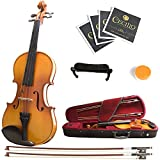 Mendini MV400 Ebony Fitted Solid Wood Violin with Hard Case, Shoulder...