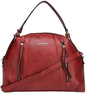 Haute Curry by Shoppers Stop Womens Zip Closure Satchel Handbag (Cherry_Free Size)
