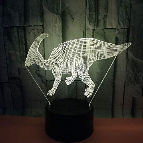 JJIEZZ Luz Nocturna 3D Dinosaurio USB Lámpara Multicolor Dormitorio Luz Nocturna Regalos