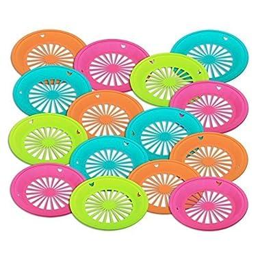 1 Dozen of Reusable Plastic Holders for 9  Paper Plates Bright Colors