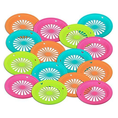 Trenton Gifts Reusable Paper Plate Holders | Set of 12 | 10' Diameter | Neon Colors