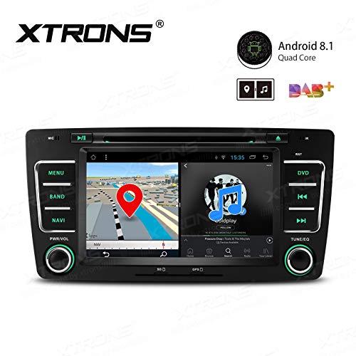 XTRONS Autoradio stéréo Android 8.1 avec écran tactile de 7 pouces - Bluetooth - Lecteur multimédia - Prise en charge WiFi, GPS, sortie RCA complète OBD DAB+ 2K - Lecteur DVD de voiture pour Octavia Yeti