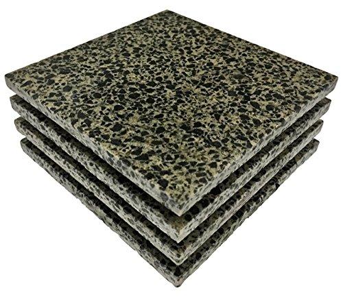 Stony Coasters - Quartz Stone Coasters - Snakeskin (Set of 4, Beige/ Black) Made in the USA