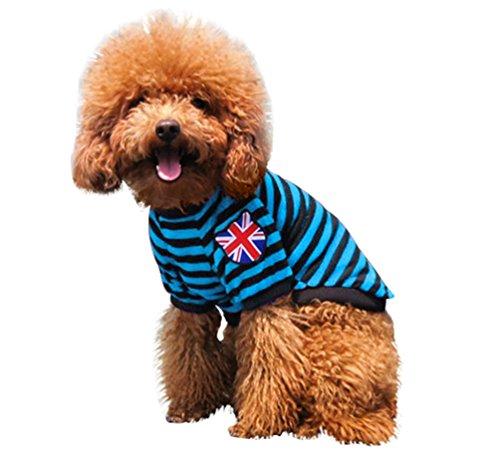 YiJee Haustier Kleine Weste Hund Katze T-Shirts Gestreifte Sommer Welpen Bekleidung Blau XL