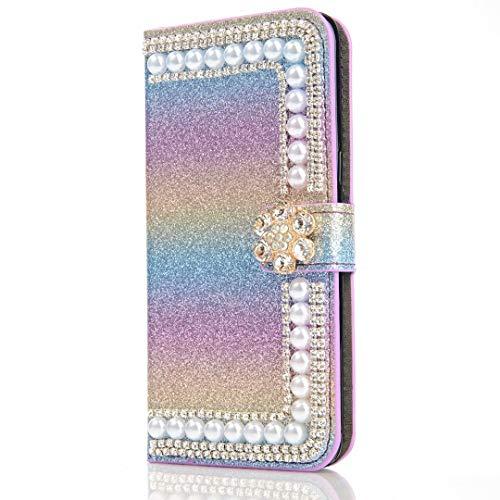 Xiaomi Redmi Note 9 Funda, 3D Glitter Gems Peals Sparkle Bling Phone Case Cover Cover Shock-Absorción Flip Flip PU Cuero Protector Bumper con Soporte Magnético Ranuras para Tarjetas para Niñas Mujeres