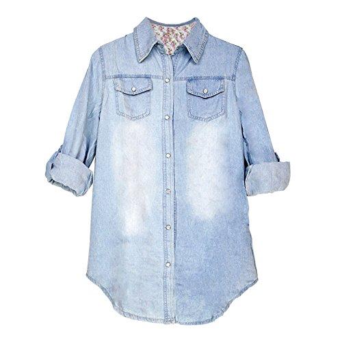 Eleery Regular Fit Damen Langarm Denim Bluse Jeanshemd Jacken Hemdkragen T-Shirt (Hellblau, XXXL)