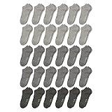 ORIGINAL BASICS Herren und Damen Sneaker Socken Füßlinge Kurz-Socken Baumwolle (30 Paar) Grautöne 41-46