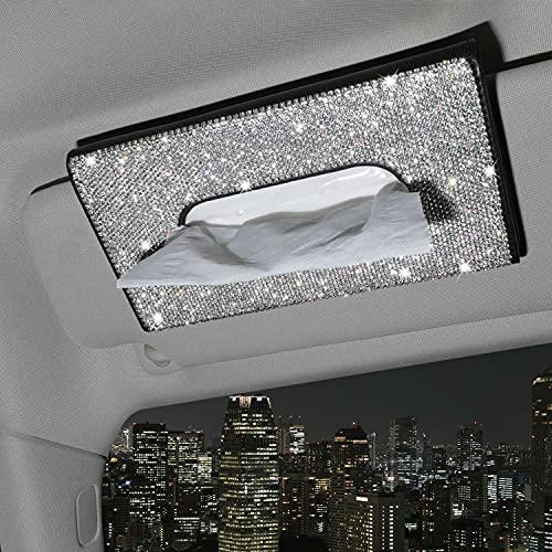 Seven Sparta Bling Car Tissue Holder Sparkling Crystals Accessories for Crystal Car Visor Napkin Holder Sun Visor Tissue Box (1)