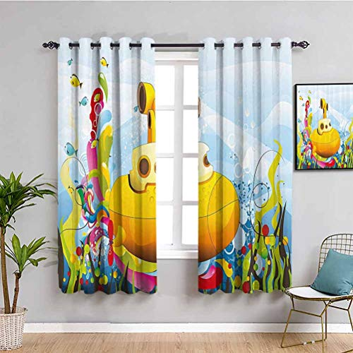 Ocean Light Blocking Curtains for Living Room Submarine Vector Illustration with Colorful Background Fishes Bubbles and Sea Plants Daily use Multicolor W52 x L63 Inch