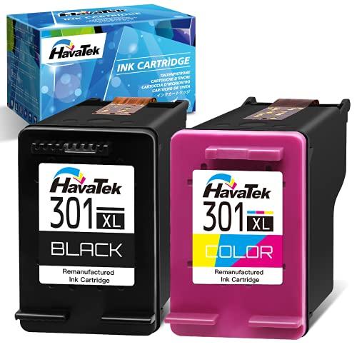 HavaTek Remanufacturados 301 XL Cartuchos de Tinta para HP 301 301XL para HP Officejet 2622 2620 4630 Deskjet 3050 3055 2540 2050 1000 1510 1512 Envy 5530 4500 4503 4508 Impresoras 1-Tricolor 1-Negro