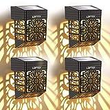 LOFTEK Lampe Murale Solaire Exterieur Éclairage Extérieur Sans Fil IP54 Lumière Fleur Creuse Rétro Décorative pour Mur, Clôture, Terrasse, Jardin, Porte d'entrée, Escalier, Cour, Allée (4 Pcs )