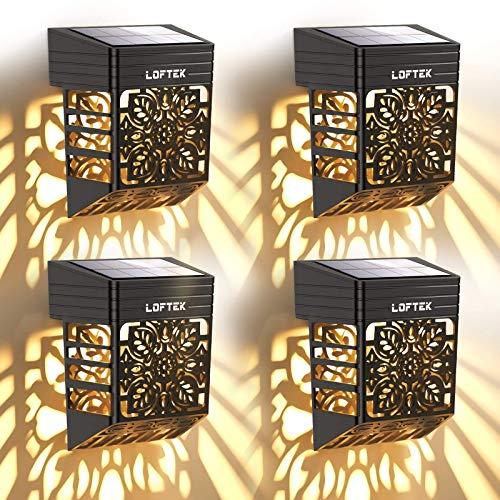 LOFTEK Lampe Murale Solaire Exterieur Éclairage Extérieur Sans Fil IP54 Lumière Fleur Creuse Rétro Décorative pour Mur, Clôture, Terrasse, Jardin, Porte dentrée, Escalier, Cour, Allée (4 Pcs )