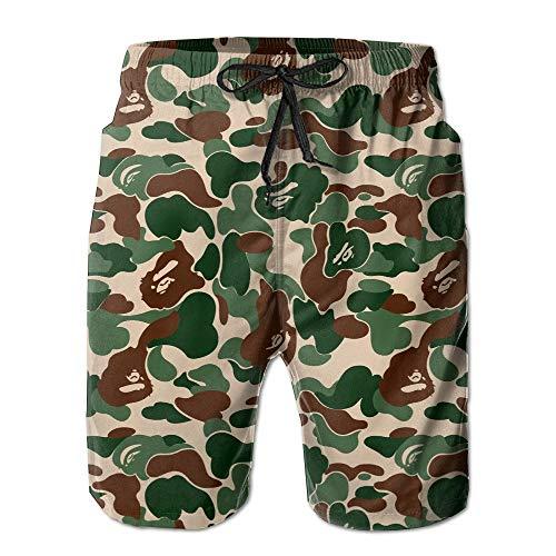 fjfjfdjk Aniaml Bape Camouflage Green Mens Summer Swim Beach Shorts XX-Large