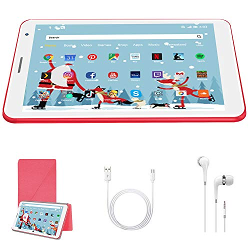 8 Inch Tablet Android 10.0, Quad Cord, 32GB ROM 3GB RAM 128GB Scalable, WIFI, Cameras, 1280*800 HD IPS Screen - DUODUOGO E8 Inch Tablet Pad GMS Google Certification (Red)